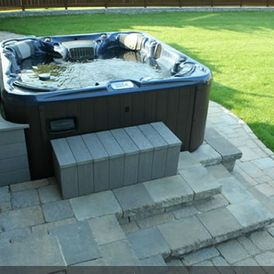 Stonework around jacuzzi