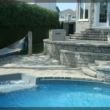 Swimming pool with stone